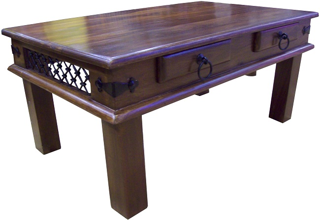 Sheesham Two Draw Coffee Table: Dark Wood