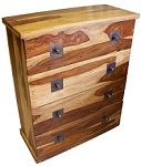 Click to view product details for: Sheesham 4 Draw Chest: Natural finish